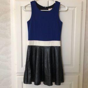 fancy blue and black dress